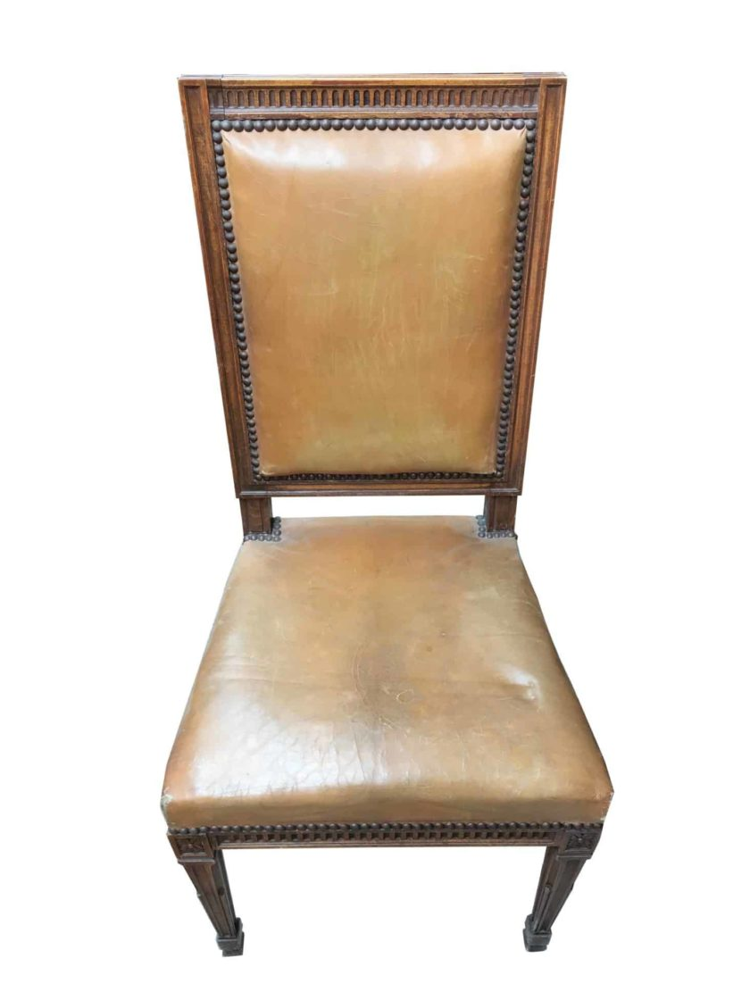 Chaise banque de france cuir face