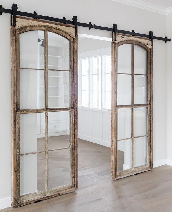 Porte vitrée double